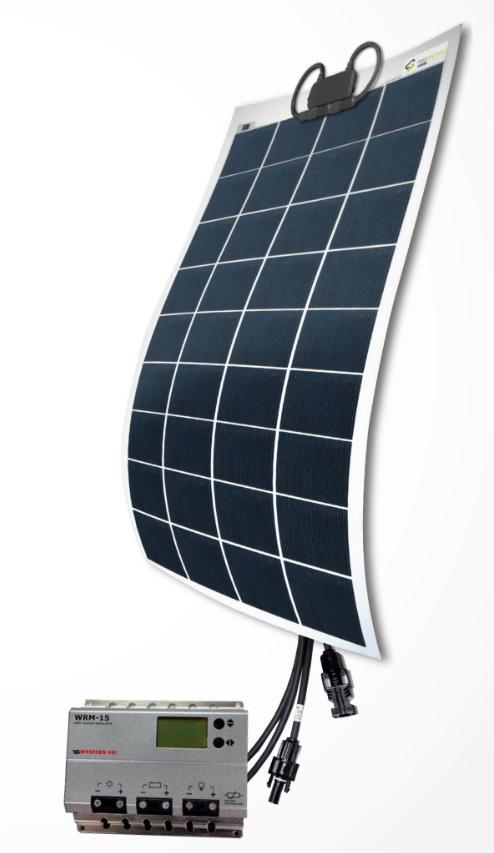 Sats med solcellspanel och regulator - 131 W