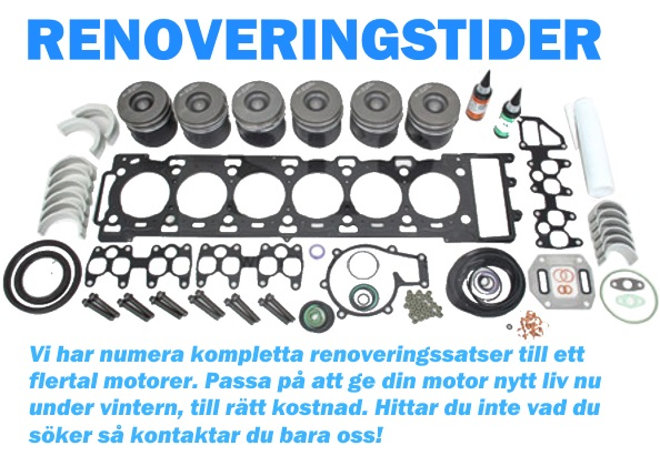 renoveringstider för din motor - klicka här för att se våra renoveringssatser